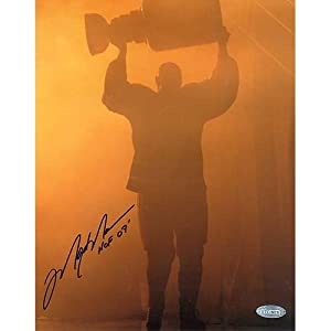 "NHL Mark Messier Oilers Retirement Night Entering through Smoke with Stanley Cup with ""HOF 07"" Inscription Autographed 8-by-10-Inch Photograph"