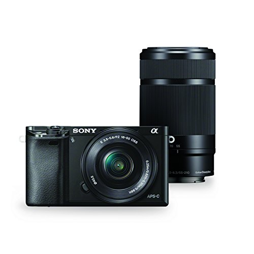 Sony Alpha a6000 Mirrorless Digital Camera w/16-50mm and 55-210mm Power Zoom Lenses B/w Low Light Camera