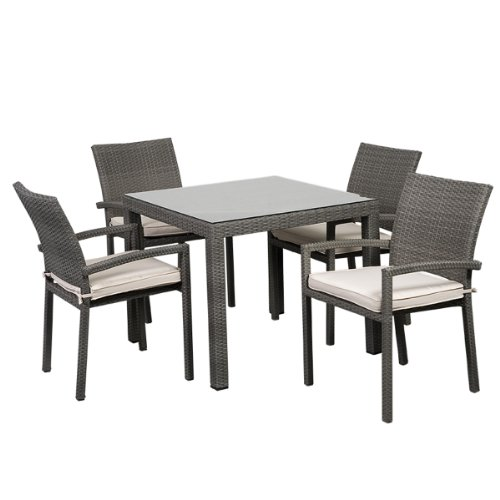 Atlantic 5-Piece Liberty Square Dining Set, Grey with Off-White Cushions