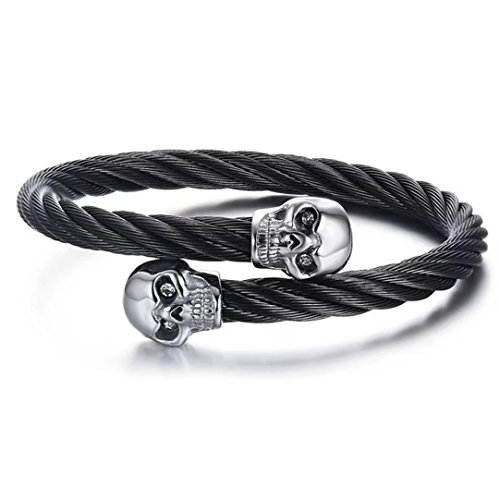 (DIB Men Stainless Steel Black Twisted Cable Wire Double Halloween Skull Adjustable Bangle Cuff Bracelet, 6mm)