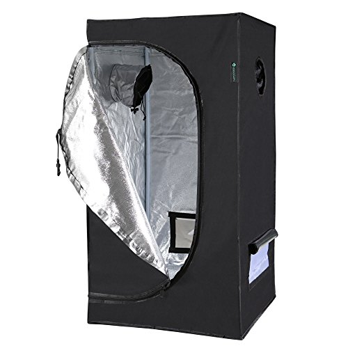 "41ricECL HL - IDAODAN 2x2x4 Feet Small Indoor Mylar Hydroponic 600D Grow Tent Room with Floor Tray (24""x 24""x 48"")"