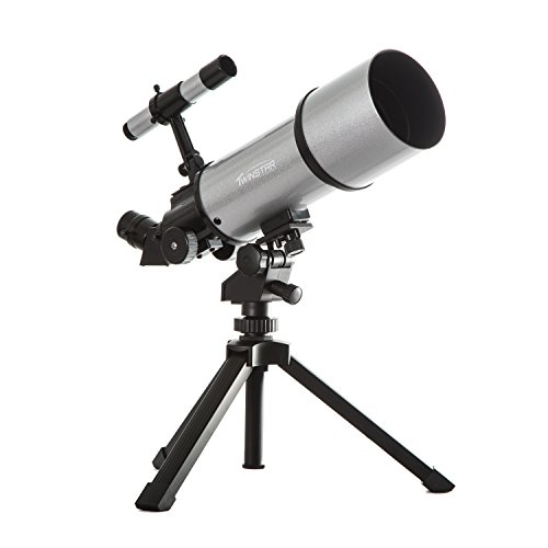 Silver TwinStar AstroMark 80mm 16-40x Power Portable Refractor Telescope