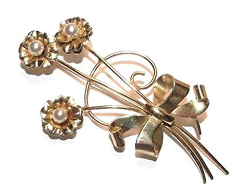 (Coro Sterling Silver Vermeil Floral Bouquet Brooch)