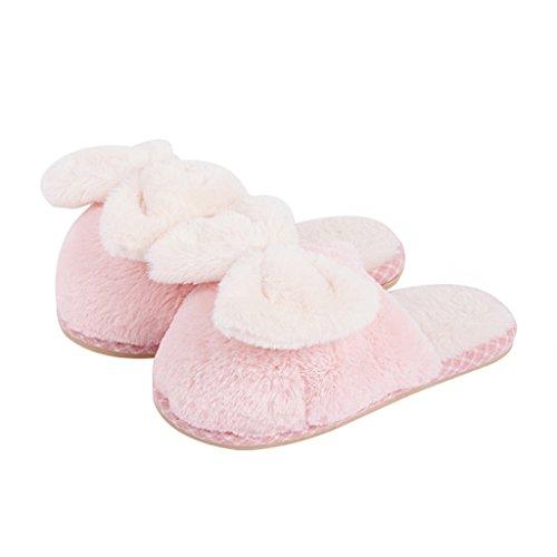 DWW-zapatillas Zapatillas de algodón mujer invierno interior antideslizante de espesor en casa preciosa cálida zapatos Pink