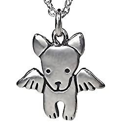 """Sterling Silver Angel Dog Necklace on 18"""" Sterling Chain"""