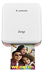 "The Canon ivy mini photo printer is a 2""x3"" Portable printer small enough to fit in your pocket so you can take it anywhere! Easily connect your smartphone to the Canon ivy mini photo printer app via Bluetooth, choose a photo from your smartp..."