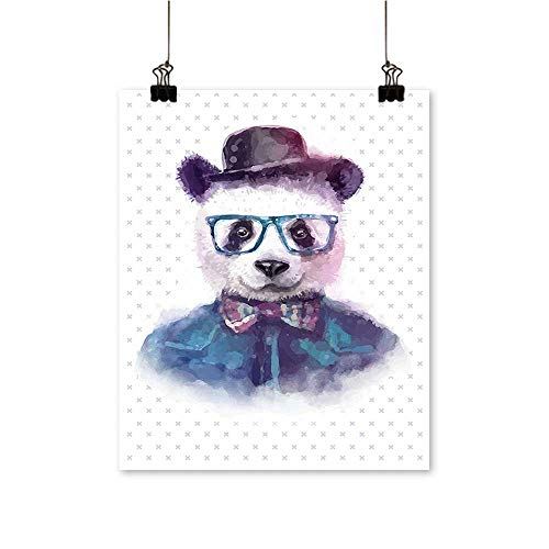 Artwork for Home DecorationsVintage Hipster Panda with Bow Tie Dickie Hat Horn Rimmed Glasses Watercolor Style Home Decor Wall Art,12