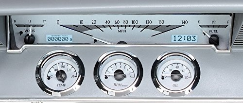 Dakota Digital 61 62 Chevy Impala El Camino Analog Dash Gauges Silver Alloy White VHX-61C-IMP-S-W (Dash El Camino)