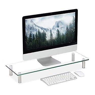 relaxdays-Soporte-Monitor-Elevador-Pantalla-Ordenador-Portatil-Ajustable-Cristal-1-Ud-70-x-24-cm-Transparente-Grande