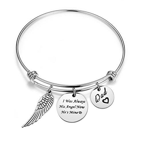 Memorial Bracelet I Was Always His Angel Now He's Mine In Memory Of Loved One Dad Sympathy Gift (In memory of dad bracelet)
