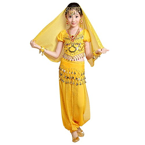 Pilot-trade Kid 5-Piece Indian Dance Set Halloween Belly Dance Costumes Yellow