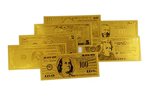 great Gold Bank Note Set of 7- 24kt Gold Foil $1, $2, $5, $10, $20, $50 and $100 for Collectors or Gifts.