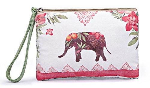 Crest Design Cute Canvas Smartphone Wristlets Cash Coin Purses, Make Up Bag, Cellphone Clutch Purse With Wrist Strap (Maroon Elephant) (Small Wristlet)