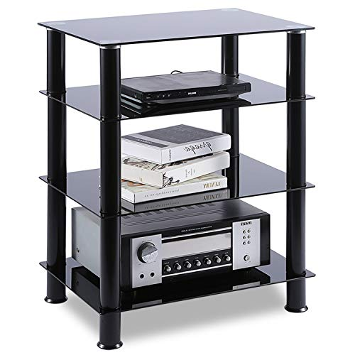 3 Shelf Component Racks - TAVR 4-Tiers Media Compontent TV Stand Audio Video Tower Tempered Glass Shevles for TV, Xbox, Gaming Consoles, Media Component, Streaming Device, HF1001