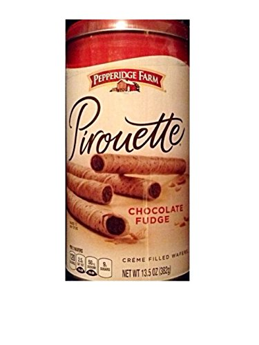 Pepperidge Farm Pirouette Chocolate Fudge Creme Filled Wafers (30 in Container)(pack of 3 (Pirouette Cookie)
