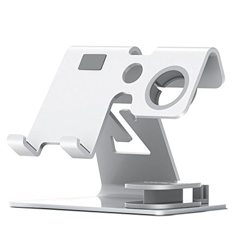 Bosssee Cell Phone Stand Watch Stand Desktop Phone Stand Holder For All Size Smartphone and Tablet (Up To 9.7 Inch) Charging Stands Accessories Desk(Silver) by Bosssee