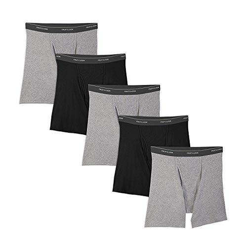 Fruit of the Loom Men's No Ride Up Boxer Brief (Small (34-36), Black/Gray (5-Pack))