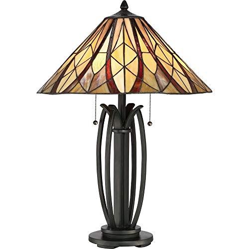 (Quoizel TFVY6325VA Victory Tiffany Table Lamp Lighting, 2-Light, 200 Watts, Valiant Bronze (26