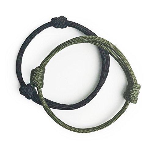 WUE 2 Pcs Paracord Adjustable Handmade Bracelet for Stylish Men (Black/Olive) -