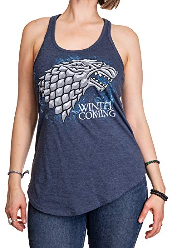 Game of Thrones Ladies Flowy Racerback Tank Top (Stark, ()