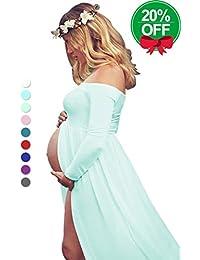 Maternity Off Shoulder Chiffon Gown Split Front Maxi...