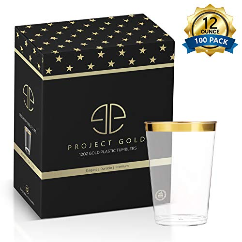 Gold Rimmed Plastic Cups - Pack of 100 12 oz. Plastic Tumblers - BPA-Free Plastic Glasses - Durable Wedding Cups - Disposable and Reusable - Simple but Elegant - Perfect for Every Party and Daily Use