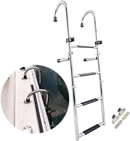 Escalera Telescópica Escalera Plegable para Barcos Marinos, Acero Inoxidable Bañador Escalera Marina 4 Pasos, Escalera de Barandilla Manual con Escalón Extra Ancho, Carga 400 LB: Amazon.es: Hogar