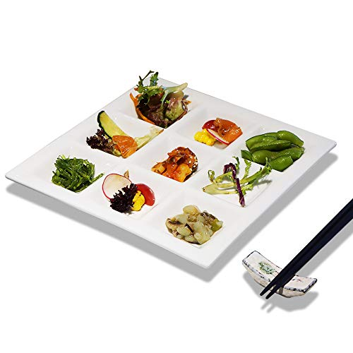 Ceramic plate With 9 Compartments Livingware Divided Plate Elegant Quadrate Shaped Ceramic Divided Plate Dinner Plates Luncheon Plates Salad Plates Pigment tray-Pure White