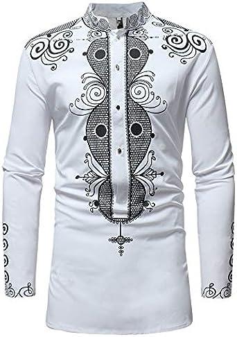 Lymoo - Camisetas africanas de manga larga para hombre Blanco blanco 3XL: Amazon.es: Ropa y accesorios