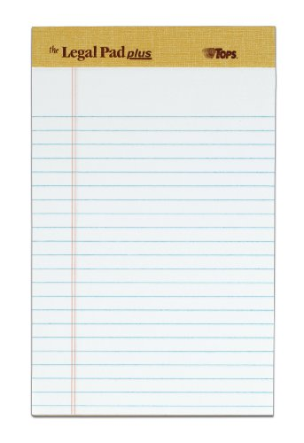 TOPS The Legal Pad Plus Legal Pad, 5 x 8 Inches, Perforated,