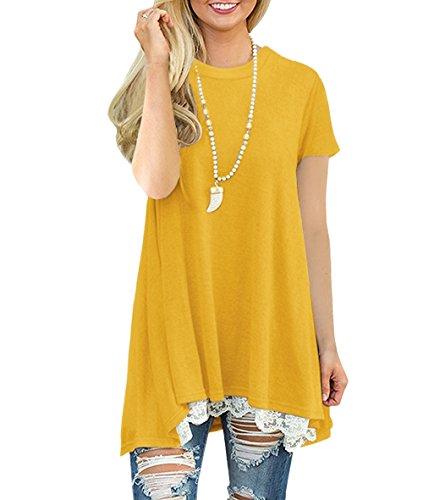 Yellow A Magliette Hothot Corte Maniche Donna 0Xnw8