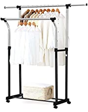 St. Lun Removable Double Rail Garment Rack Rolling Laundry Drying Rack Clothes Holder Storage Organizer with Bottom Shelf Adjustable Height Length for Home Bedroom Removable Double Rail Garment Rack