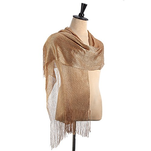 Evening Gold Shimmer - Womens Bridal Sparkle Fashion Scarves Evening Shawl Wrap for Wedding Dress gold