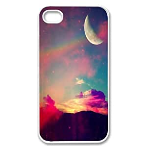 Apple iPhone 4 4G 4S Moon Sky Nebula Hipster Pattern Vintage WHITE Sides Case Skin Cover Faceplate Protector Accessory Vintage Retro Unique Comes in Case Cartel Packaging