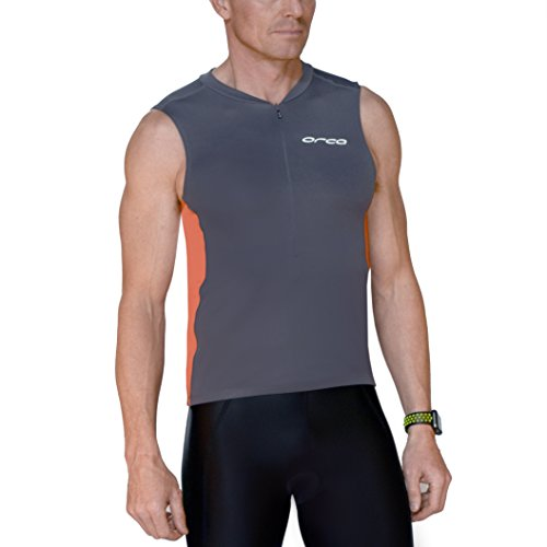ORCA Men's Tri Singlet with Pockets M2003 (Gun Metal/Burnt Orange Stretch, Small) by ORCA
