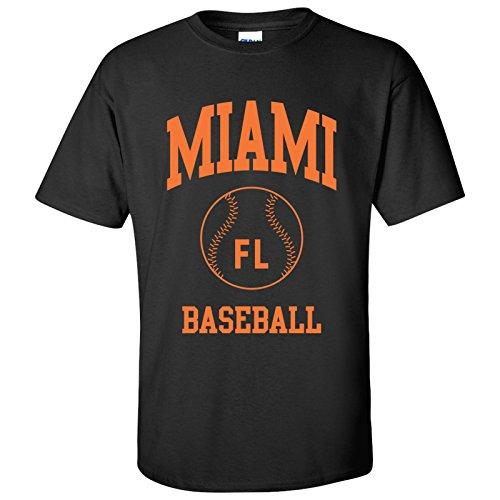 Miami Classic Baseball Arch Basic Cotton T-Shirt - Medium - Black (Marlins Shirt Florida)