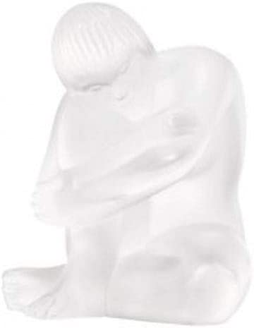 Lalique - An opalescent glass Nu Sage figure, the seated