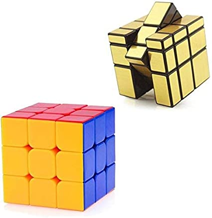 HARDI THRIVE Combo of 3x3x3 Sticker Less 3x3 Mirror Cube, Gold 2 Pcs Multi Colour