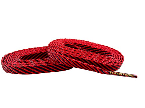 Team Color Laces (114cm/45in Women/Teen, Red w/ Black Stripe) (Red Stripes Sneakers Women)