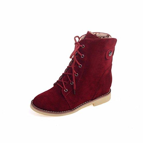 El otoño y el invierno botas hembra scrub Dichotomanthes final Martin botas botas de tacón bajo aumento gules