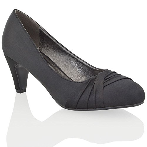 Essex Glam Womens Low Heel Bridal Party Black Satin Slip On Pumps Court Shoes 8 B(M) - Party Shoes Satin