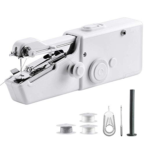 Portable Sewing Machine Handheld – Mini Hand Sewing Machine for Kids Beginners Home or Travel Sewing – Cordless Small Handy Stitch Handheld Sewing Machine for Easy Quick Repairs Fabric Leather Denim