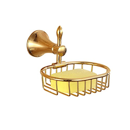Sumin Home 32508 Contemporary Wall Mounted Bathroom Wire Shower Soap Basket, Gold