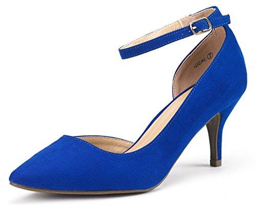 DREAM PAIRS IDEAL Women's Evening Dress Low Heel Ankle Strap D'orsay Pointed Toe Wedding Pumps Shoes Royal Blue Size 7.5