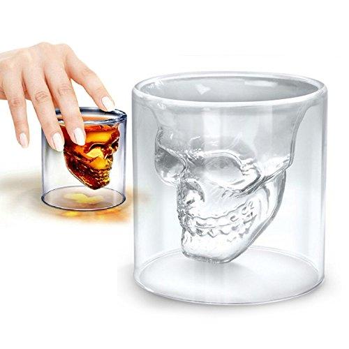 LUCKSTAR Crystal Skull Shotglass - Double Wall Transparent Skull Shot Glass Skull Pirate Shot Glass Drink Cocktail Beer Wine Cup Drinking Ware Mugs Halloween Mug For Whiskey Wine Vodka (One)