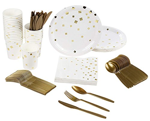 Disposable Dinnerware Set - Serves 24 - Party Supplies, Gold Foil Square Confetti Design, Includes Plastic Knives, Spoons, Forks, Paper Plates, Napkins, Cups