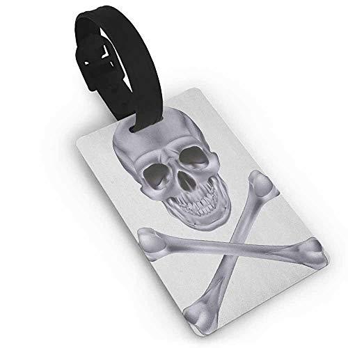 Cute Luggage Tag Grey,Vivid Skull and Crossed Bones