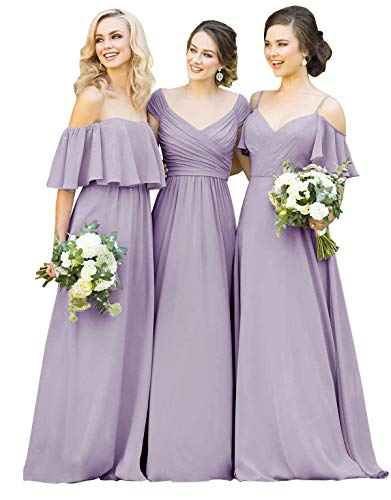 Yilisclothing Women's Off The Shoulder V-Neck A-line Long Bridesmaid Dress Formal Wedding Guest Dress Wisteria-C US22W -
