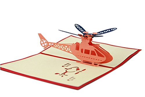 IShareCards Handmade 3D Pop Up Greeting Cards for Every Occasion - Airplane (Helicopter)