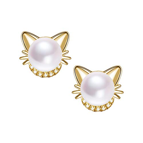 (Girls Cat Stud Earrings Freshwater Cultured Pearl 18K Gold Plated Sterling Silver Stud Earrings)